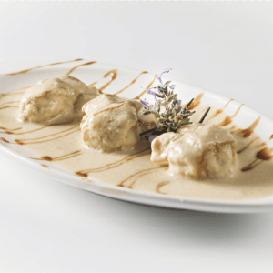 Fiocchi de pera amb salsa de foie
